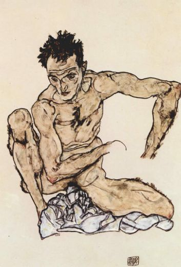 egon-schiele-squatting-male-act-selfportrait-22354
